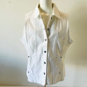 Christopher & Banks White Denim Vest Stretch XL